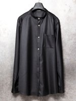 【individualsentiments】WOOL TWILL NO COLLAR SHIRTS /BLACK