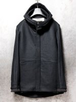 【individualsentiments】KNIT MELTON FOODED JACKET /BLACK
