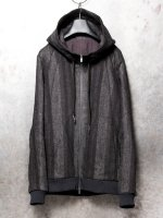 【DEVOA】Hooded jacket camel linen stripe /BLACK<img class='new_mark_img2' src='//img.shop-pro.jp/img/new/icons1.gif' style='border:none;display:inline;margin:0px;padding:0px;width:auto;' />