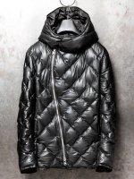 【ISAMU KATAYAMA BACKLASH】カンガルーレザー+ポーランドホワイトグースダウンフードジャケット セミロング /BLACK