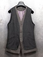 【DEVOA】Vest Linen viscose stripe /BLACK STRIPE<img class='new_mark_img2' src='//img.shop-pro.jp/img/new/icons1.gif' style='border:none;display:inline;margin:0px;padding:0px;width:auto;' />
