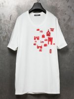 【nude:mm×PR-y】30/-度詰天竺エンブロイダリーTEE [OGAWA SHOYO] /OFF WHITE×RED<img class='new_mark_img2' src='//img.shop-pro.jp/img/new/icons1.gif' style='border:none;display:inline;margin:0px;padding:0px;width:auto;' />