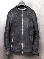 【incarnation】HORSE LEATHER NO COLLAR ZIP/F MOTO SPIRAL ARM LINED /REVERSE BLACK