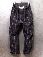 【individualsentiments】WOOL LINEN PLAID RELAX PANTS /BLACK