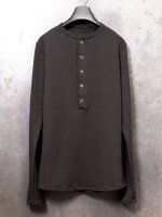 【incarnation】COTTON92% EL8% CUT & SEWN HENLEY NECK LONG SLEEVE /BLACK