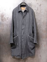 【incarnation】12oz DENIM COTTON 100% BALMACAAN COAT W/OVER PKT UNLINED /DARK GRAY