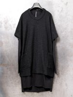 【nude:mm】WOOL SLAB JERSEY OVER SIZE PULLOVER W/COTTON LONG T SHIRT /BLACK