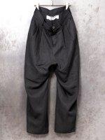 【individualsentiments】LINEN GABARDINE WASHABLE CLOTH TACKD PANTS  /BLACK<img class='new_mark_img2' src='https://img.shop-pro.jp/img/new/icons1.gif' style='border:none;display:inline;margin:0px;padding:0px;width:auto;' />