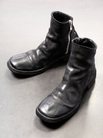 【incarnation】HORSE LEATHER SIDE ZIP SHORT LINED LEATHER SOLES PIECE DYED /BLACK