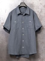 【individualsentiments】LINEN GABARDINE WASHABLE CLOTH SHORT SLEEVE SHIRTS  /STEEL GRAY