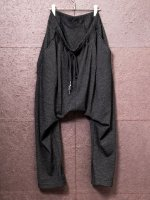【nude:mm】Wool / Cotton Jersey Drop-Crotch Tuck Easy Pants /CHARCOAL