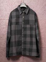 【ISAMU KATAYAMA BACKLASH】ウールチェックストレッチシャツ /BLACK