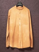 【individualsentiments】COTTON WOOL TYPEWRITER NO COLLAR SHIRTS /FADE BROWN<img class='new_mark_img2' src='https://img.shop-pro.jp/img/new/icons1.gif' style='border:none;display:inline;margin:0px;padding:0px;width:auto;' />