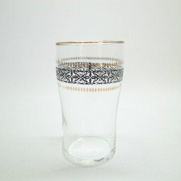 佐々木硝子 レトロ花模様 ゴールド縁取り グラス (ブラック)