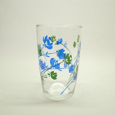 佐々木硝子 青と緑のバラ柄 グラス