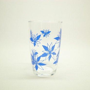 佐々木硝子 青色レトロ花柄 グラス