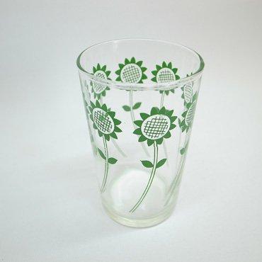 佐々木硝子 緑色ひまわり柄 グラス