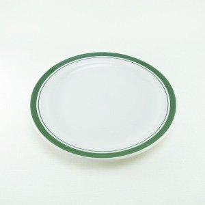 プレートS 19cm Colditz Porzellan GDR 緑色ダブルライン (WHT/GR)
