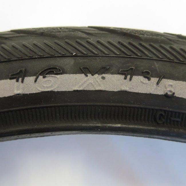 16x1 3/8黒タイヤ チューブセット(各1本)
