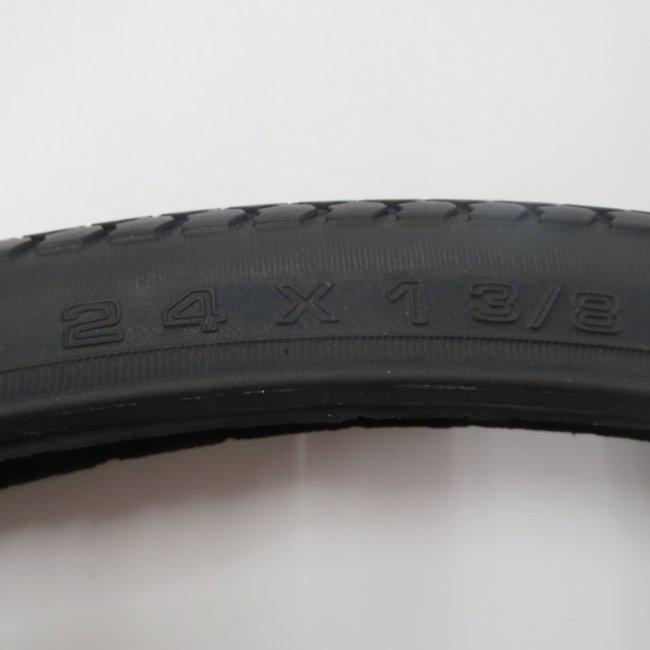 24×1 3/8 黒タイヤ・チューブセット(各1本)車いすタイヤ
