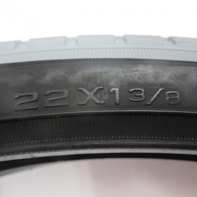 車いす用カラータイヤ,チューブセット 22x1 3/8 グレー/黒 (2本セット)