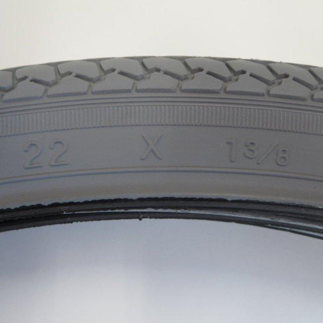22x1 3/8 グレータイヤ・チューブセット(各1本)車いすタイヤ