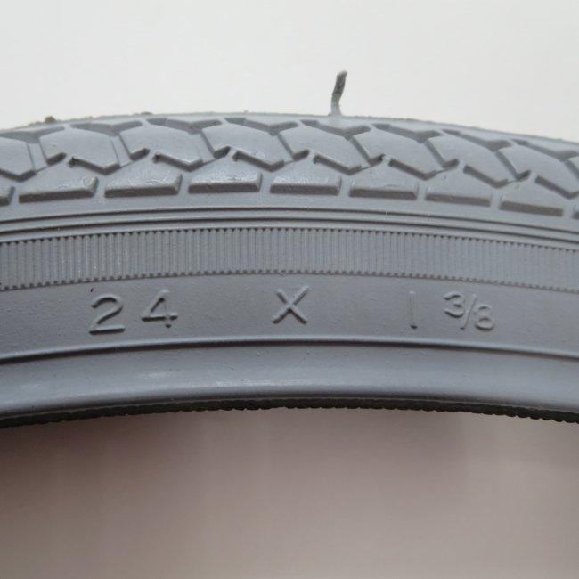 24×1 3/8 グレータイヤ・チューブセット(各1本)車いすタイヤ