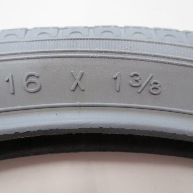 16x1 3/8 グレータイヤ・チューブセット(各1本)車いすタイヤ