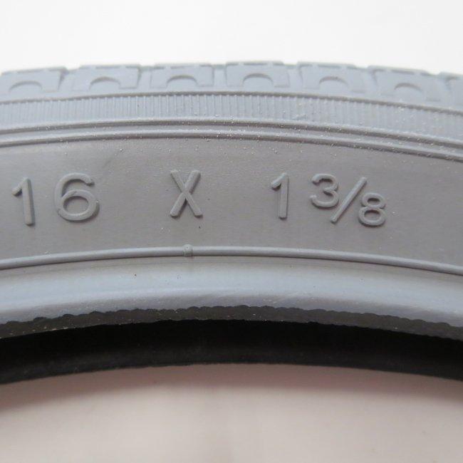 16×1 3/8 グレータイヤ・チューブセット(各1本)車いすタイヤ