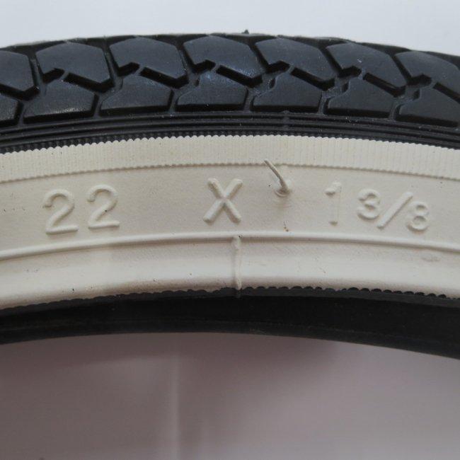 22x1 3/8タイヤ チューブ(各1本)白サイドタイヤ