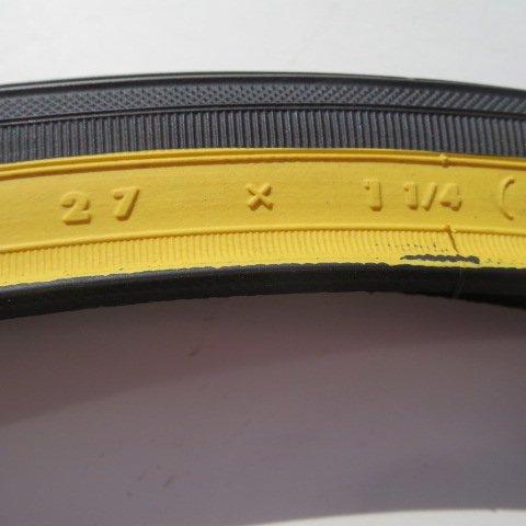 27x1 1/4アメクロ色タイヤ1本+チューブ1本