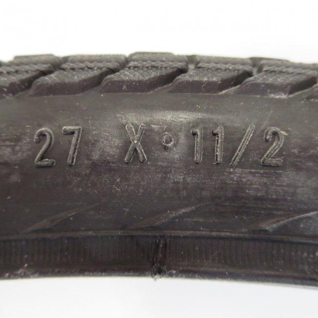 27x1 1/2黒タイヤ1本+チューブ1本
