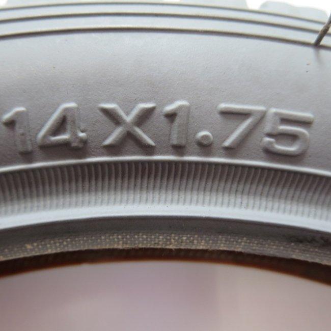 14×1.75 グレータイヤ・チューブセット(各1本)車いすタイヤ