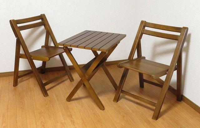 送料無料 無垢材仕様 折りたたみ チェア+テーブル 3点セット BR