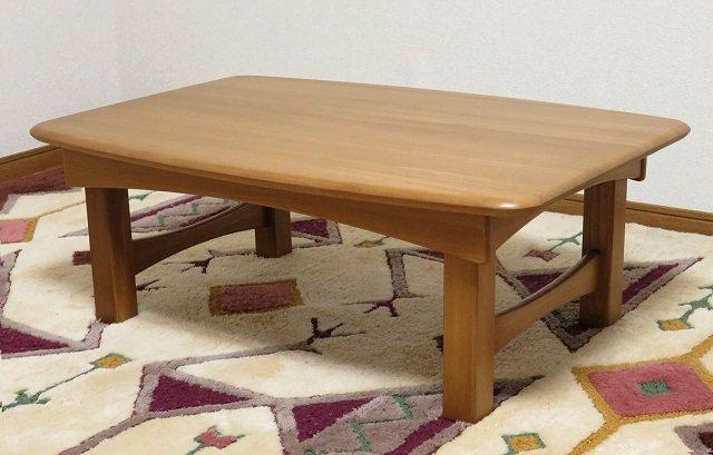 送料無料 処分特価 ニレ無垢材仕様 脚折れテーブル 座卓 ちゃぶ台 90x60cm