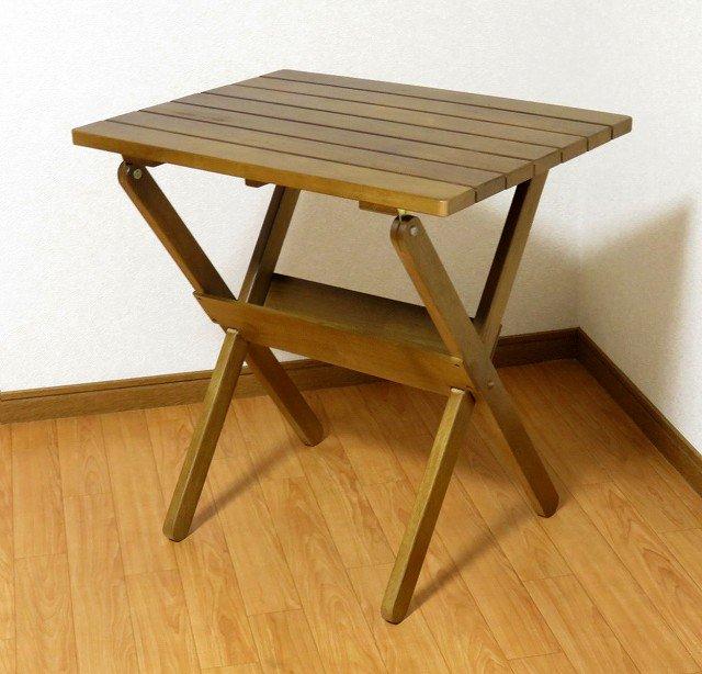 送料無料 処分品 木製 コンパクト 折りたたみテーブル BR