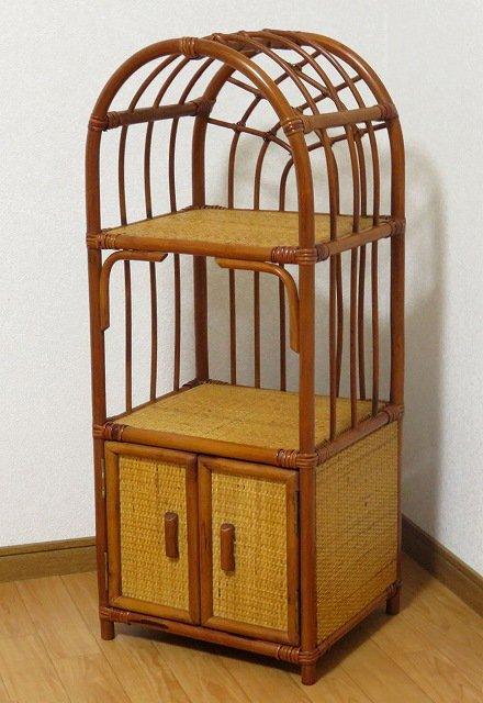 送料無料 処分品 ヒカリのラタン 籐 ミニ 飾り棚 収納ラック