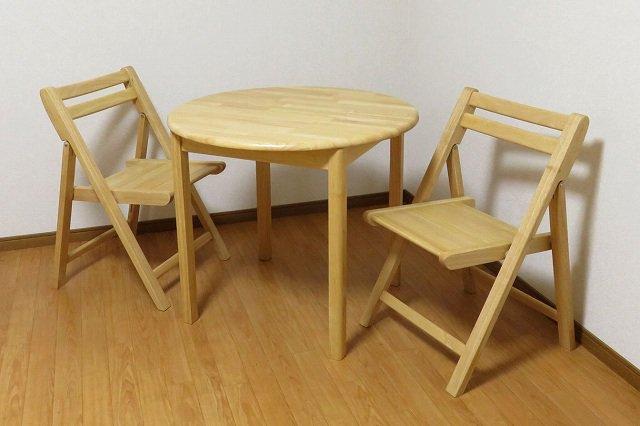 送料無料 無垢材仕様 折りたたみチェア+丸テーブル 3点セット NA