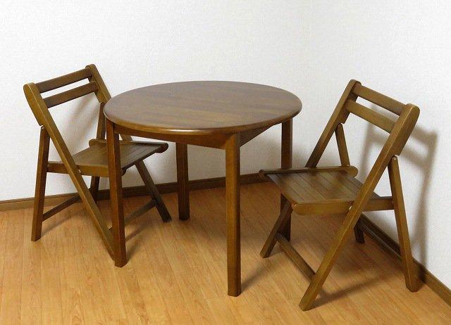 送料無料 無垢材仕様 折りたたみチェア+丸テーブル 3点セット BR