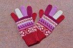 アルパカ模様手袋<赤>A