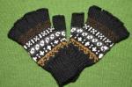 指なしアルパカ手袋 アルパカ80%アクリル20% メンズフリーサイズ<黒系>