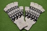 指なしアルパカ手袋 アルパカ80%アクリル20% メンズフリーサイズ<ライトグレー系>