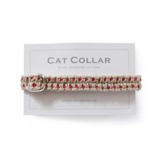 猫の首輪/ヘンプ編み【ピュアナチュラル×マゼンタステッチ】