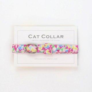 猫の首輪/やわらかコットン【リバティ fluttering ピンク系】