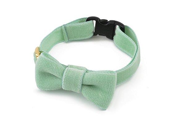 猫の首輪/やわらかベルベット【リボン付き/ミントグリーン】