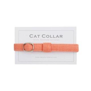 猫の首輪/やわらかコットン【リネン-オレンジムース】