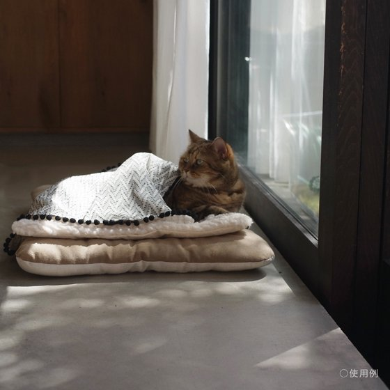 pompomブランケット【リネンウール/ナチュラル】For Cat