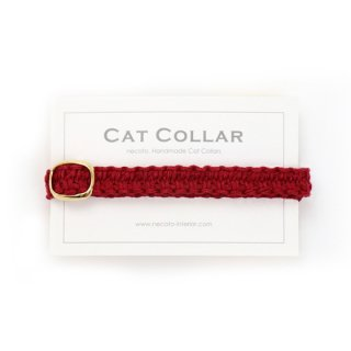 猫の首輪/ヘンプ編み【レッド×レッド】