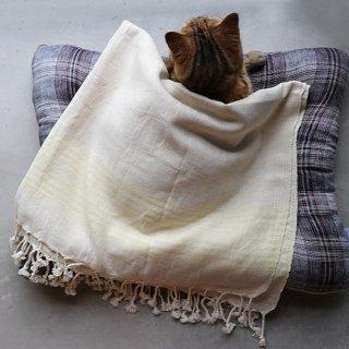 トルコ 手織りのリネンケット【ストライプイエロー】