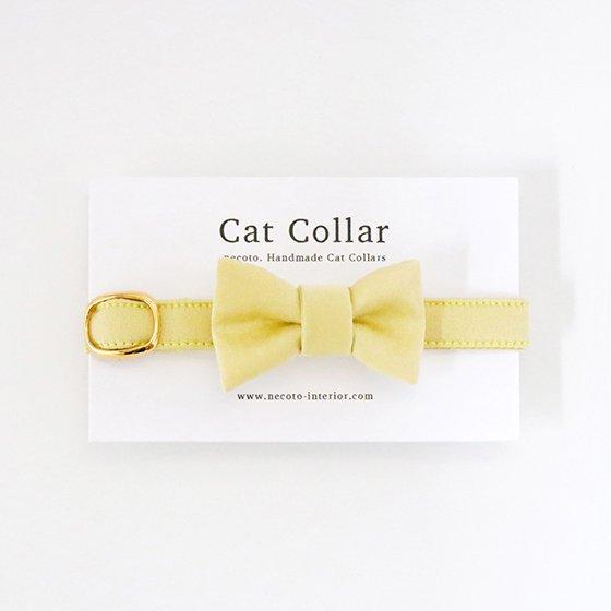 猫の首輪/やわらかサテン【リボン付き/ジャスミンイエロー】